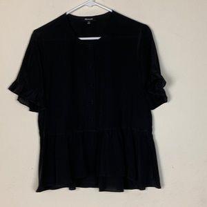 Madewell- Black Sheer Blouse size Medium